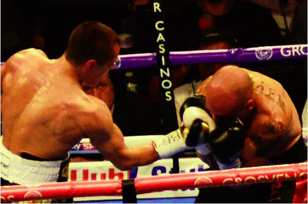 Scott Quigg (left) landing a right uppercut during his impressive stoppage over Kiko Martinez. Photo: Scott J. Raven
